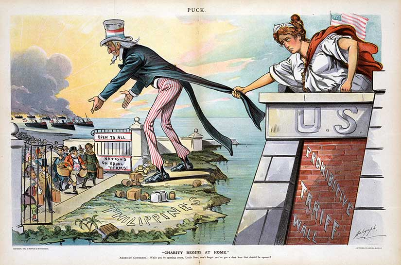 December 1898 Puck cartoon shows Uncle Sam welcoming world trade in his off-shore entrepôt.