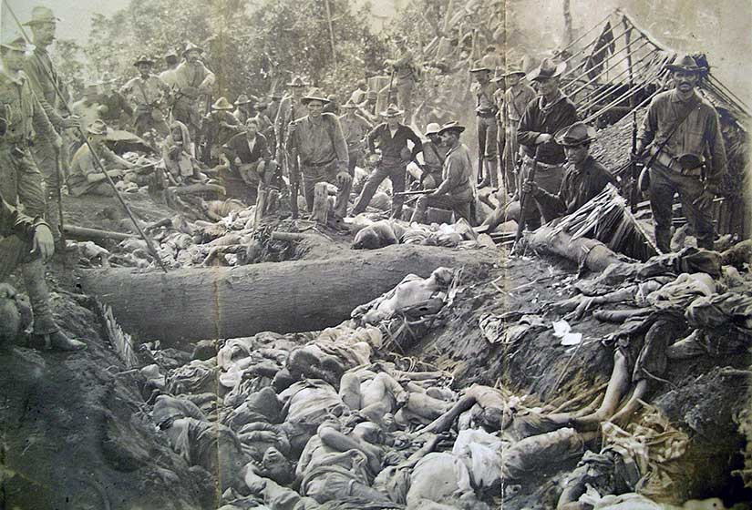 Bodies of dead Filipino Muslims killed at the First Battle of Bud Dajo during the Moro Rebellion.