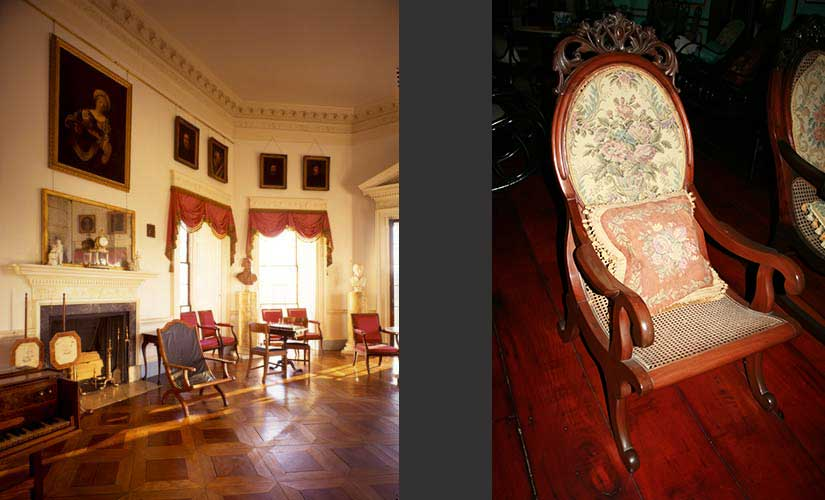 Thomas Jefferson's butaka chair (left) and a fancy butaka from a turn of the century Philippine home (right).