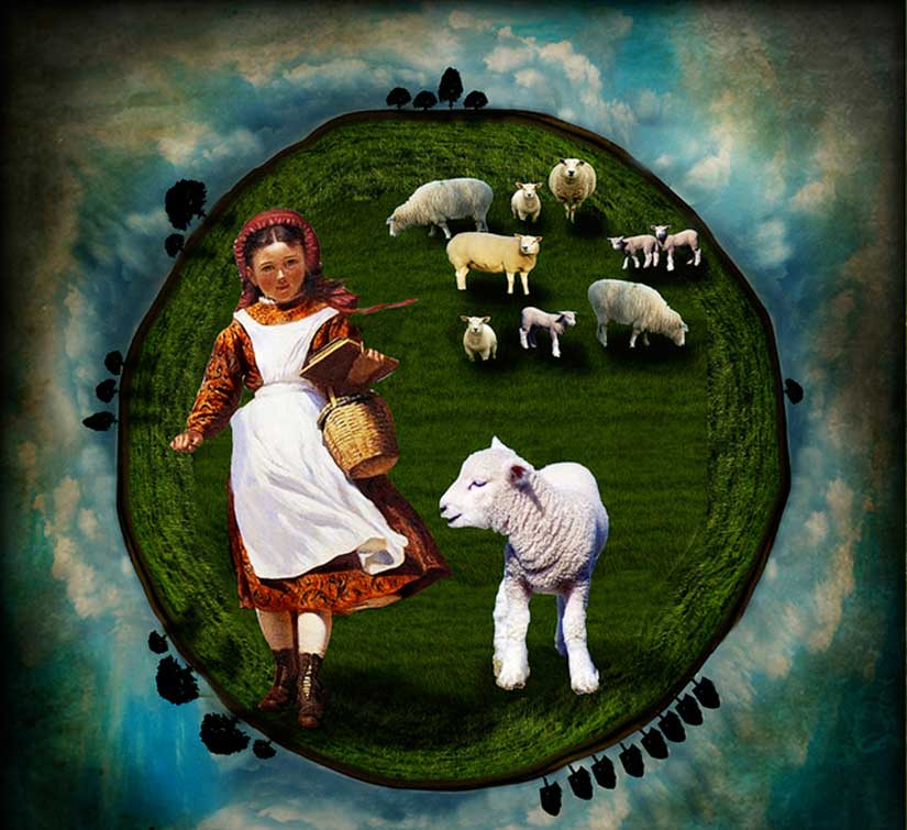 "An artistic rendition of Sarah Josepha Hale's poem, ""Mary Had a Little Lamb,"" one of the country's favorite nursery rhymes, courtesy of Caroline at Art Uni International."