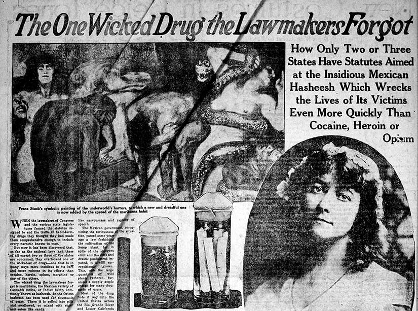 A 1922 diatribe against the evils of marijuana in the Ogden Standard-Examiner, courtesy of The Library of Congress. That is a pretty risqué illustration.