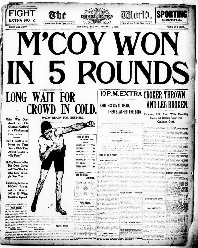 """""""M'Coy Won in Five Rounds"""" because """"Maher was outclassed."""" Even in 1900, sports dominated some papers. From the New York Evening World."""