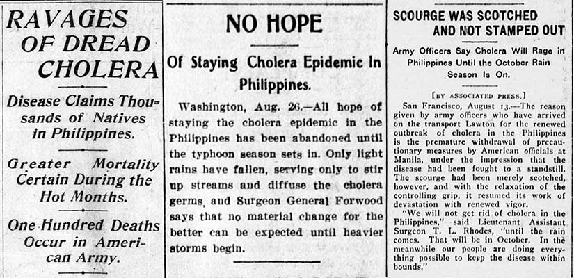 The hope of a quick end to the cholera outbreak was dashed by July and August 1902, as shown in these three articles from American newspapers.